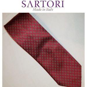 "♦️Italian Silk Tie-Sartori-Red 59"""